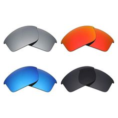 7ac53622451 Mryok 4 Pair Polarized Replacement Lenses Oakley Bottle Rocket Sunglass -  Stealth Black Fire Red Ice Blue Silver Titanium Review
