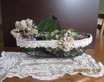 Shabby Paris French Chic Rustic wire basket crochet lace boudoir Wedding flower girl