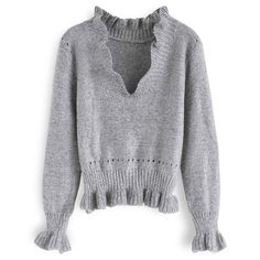 Chicwish Womens Grey VNeck Soft Frilling Knit Sweater Pullover   Continue  to the product at the c18df768a