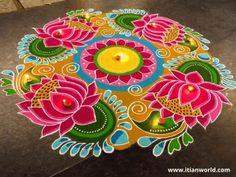 Indian Rangoli Designs, Rangoli Designs Latest, Simple Rangoli Designs Images, Rangoli Designs Flower, Rangoli Patterns, Rangoli Border Designs, Rangoli Ideas, Colorful Rangoli Designs, Flower Rangoli