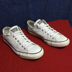 CONVERSE ALL STAR rare white leather...w11 m9 eu43 Minimal wear...no noticeable issues Converse Shoes