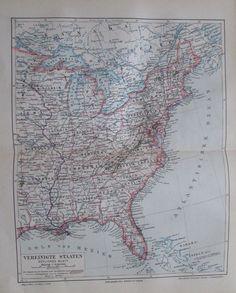 1897 Vereinigte Staaten östliches Blatt alte Landkarte antique map Lithographie   eBay