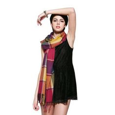 Purple and Yellow Pashmina Plaid Scarf. #scarf  #fashion 9thelm.com