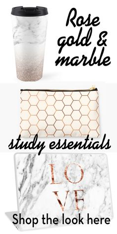 Mugs, stationery, cases and everything you need to make study productive and beautiful. College and school is much better in rose gold.
