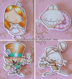 Dear Alice, Copic Pens, Planner, Clear Stamps, Stickers, Alice In Wonderland, Cardmaking, Coloring Pages, Chibi