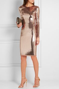 TOM FORD   Sequined tulle dress  Rose gold sequined tulle Concealed hook and zip fastening at back 84% polyamide, 16% elastane; trim: 66% acetate, 34% viscose Dry clean Made in Italy