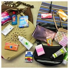 Fill purses with toiletries to donate to a domestic violence shelter