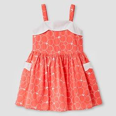 Toddler Girls' Scallop Neck Dress - Coral - Genuine Kids from Oshkosh™ : Target