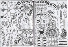 B&W; zentangles...click to see these wonderful designs...gorgeous! Julie Fei-Fan Balzer's journal!