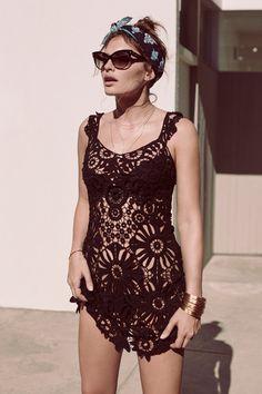 Black Crochet Cover Up Bikini Noir, Bikini Crochet, Crochet Lingerie, Beach Crochet, Mode Crochet, Crochet Cover Up, Swimsuit Cover Ups, For Love And Lemons, Swimsuits