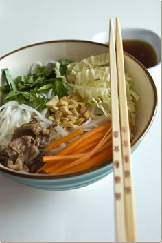 Vietnamese Beef and Noodle Bowl (I would add cucumber to the veggies as well)