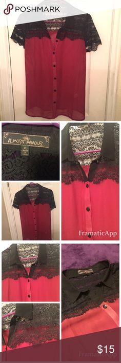 Red and black lace sheer top Red and black sheer lace top by Almost famous. Size XL never worn NWOT Almost Famous Tops Blouses