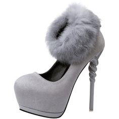 T&Mates Womens Extreme High Heel Fashion Detachable Faux Fur Ankle... ($42) ❤ liked on Polyvore featuring shoes, pumps, wide fit shoes, high heeled footwear, high heel court shoes, wide high heel shoes and suede shoes