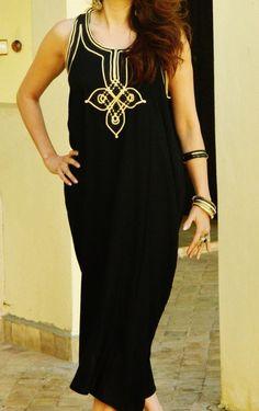 Buy Now Resort Non-Sleeve Black Caftan Kaftan Agadir -Kaftan. Black Kaftan, Resort Wear, Winter Dresses, Casual Wear, Casual Chic, Lounge Wear, Agadir, How To Wear, Clothes