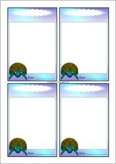Turtle-themed editable communication slips (SB10080) - SparkleBox
