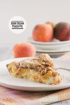 Sour Cream Peach Pie   www.tasteandtellblog.com