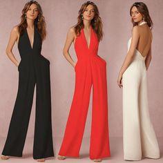Halter Backless Pure Color Wide-Legs Long Jumpsuit