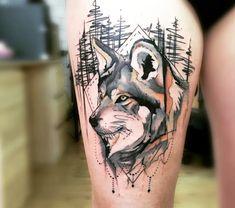 dibujos de lobos, tatuaje en cadera para mujeres, cabeza de lobo en un bosque, negro, gris y naranjado, estilo acuarela Wolf Tattoos, Tatoos, Watercolor Tattoo, Skull, Ink, Animals, Futurama, Wolves, Stew