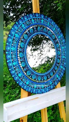 Mandela Rock Painting, Stone Art Painting, Mirror Painting, Mirror Wall Art, Dot Art Painting, Diy Mirror, Mandala Art Lesson, Mandala Artwork, Mandala Painting