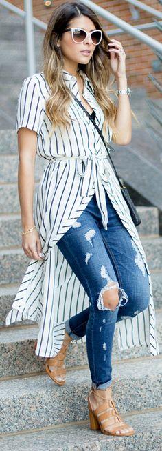 long shirt + jeans