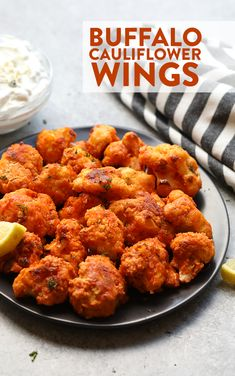 Got a head of cauliflower? Make these amazing healthy buffalo cauliflower wings with just a few simple ingredients for the big game. These healthy cauliflower wings are especially delicious dipped in a homemade healthy blue cheese dip. - Food and Drink Healthy Superbowl Snacks, Healthy Appetizers, Appetizer Recipes, Healthy Recipes, Dip Appetizers, Healthy Cauliflower Recipes, Protein Recipes, Thai Recipes, Baked Buffalo Cauliflower