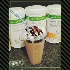 When a girl just needs chocolate: chocolate and cookies and cream herbalife shake! 2 scoops formula 1 cookies and cream meal 2 scoops vanilla PDM 1 TBS of SF chocolate jello pudding mix Water, ice Toppings : a squirt of redi whip, SF chocolate syrup, and a sprinkle of chopped pecans