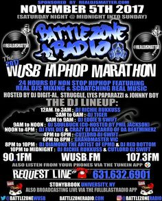 #RealDjsMatter this weekend! We are proudly sponsoring #BattleZoneRadio at The 2017 #HipHop Marathon at #StonyBrookUniversity NY. starting sat nite midnight Nov 5th (sun morning) ft a dope lineup of DJs mixing live for 24 hours straight!: #RichieRukkuss #Djaytiger #DjEddieBSwift #DjSoulBuck #DjEvilDee #CrazyDjBazarro #CutlordDjSwift #GrandmasterVic #DjDiamondTheArtist & #DjRedBottom spinning real music on #technic1200s! Hosted by #DjDigital #StruggleComedy #LyesPaparazzi & #JohnnyBoy…
