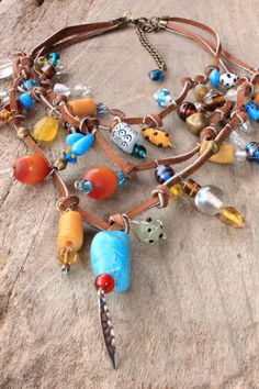 African necklace - Bohemian necklace. Leather, beaded, Yellow, Turquoise and Amber beads - SHINING STAR - Bohemian jewelry & African jewelry   by DazzlingDivaJewels on Etsy,   $172.00   Designed & Created by Patrice