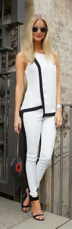 This pairing of a white and black sleeveless top and white and black skinny pants is ideal for casual settings. Complete your getup with black leather heeled sandals to effortlesslly ramp up the style factor of any ensemble. White Fashion, Look Fashion, Womens Fashion, Classic Fashion, Fashion Images, Ladies Fashion, Street Fashion, Fashion Trends, Moda Casual