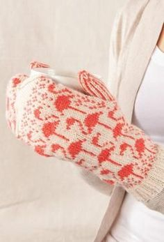Flamingo Mittens - Knitting Patterns by SpillyJane
