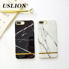 USLION Luxury Smooth Marble Phone Case For iPhone 7 6 6s Plus Ultrathin Soft TPU Silicone Cases Back Cover For iPhone7 Plus