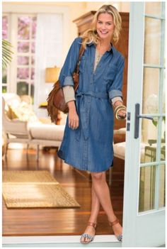 Refresh Your Look with Three Spring Trends to Try Now - Denim Shirt Dress #easyoutfits #style #stylechallenges