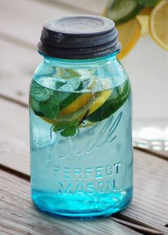 detox water - 2 lemons, 1/2 cucumber, 10-12 mint leaves, and 3qts water fuse overnight