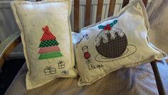 Christmas pillows made by cynefincrafts@gmail.com