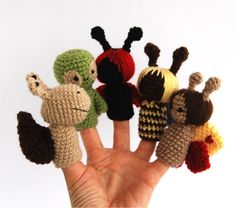 garden finger puppet, crocheted bee, ladybug, snail, turtle, butterfly, play fairytail, tiny amigurumi, gift for children, girls, red green. $41.00, via Etsy.