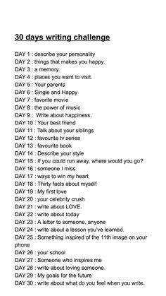 30 days writing challenge✏💭🌼 uploaded by Rihanna Poetry Prompts, Journal Writing Prompts, Bullet Journal Writing, Writing A Book, Writing Tips, Bullet Journal Ideas Pages, 30 Day Writing Challenge, Writing Therapy, Journal Questions