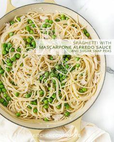 Spaghetti with Mascarpone Alfredo Sauce and Sugar Snap Peas | www.kitchenconfidante.com #recipe