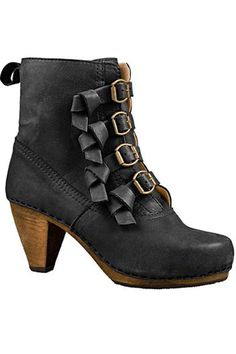 Heel Booties In Black Leather.