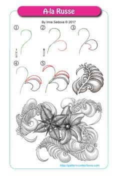 A-la Russe Tangle, Zentangle Pattern by Irina Sedova