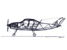 Small Passenger Airplane - Print of my original sketch drawing - Size 8.3 x 11.7in (A4)