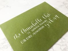 """The """"Jasper"""" style envelope address features a large and bold guest name, along with a large and stylized zip code. Calligraphy Artist, Calligraphy Envelope, Wedding Suite, Wedding Envelopes, Addressing Envelopes, Zip Code, White Ink, Ink Color, Jasper"""