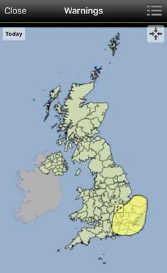 Heavy rain weather warning from the Met Office