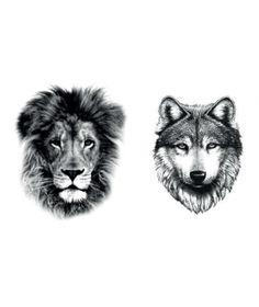LION+WOLF TATTOO x2