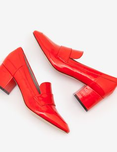 Alicia Heeled Loafers Heels at Boden Winter Dress Outfits, Heeled Loafers, Mode Online, Shoe Boots, Shoes, Block Heels, Girls, Street Style, Orange Mode