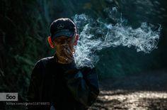 Smoking Man by drjhnsn  Situ Gunung Lake Indonesia Nikon backlight cigar cigarette light man mercedes smoke smoking travel p