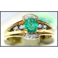 http://rubies.work/0597-emerald-rings/ Natural Solitaire Diamond 18K Yellow Gold Emerald by BKGjewels