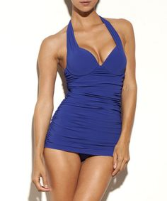 Loving this Deco Blue Push-Up Halter Maillot on #zulily! #zulilyfinds