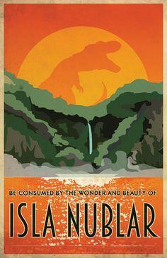JURASSIC PARK Isla Nublar Travel Poster Vintage Print by MMPaperCo
