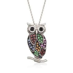 """Ross-Simons - 1.20 ct. t.w. Multi-Stone and Black Spinel Owl Pin Pendant Necklace With Diamonds in Sterling Silver. 18"""" - #823227"""