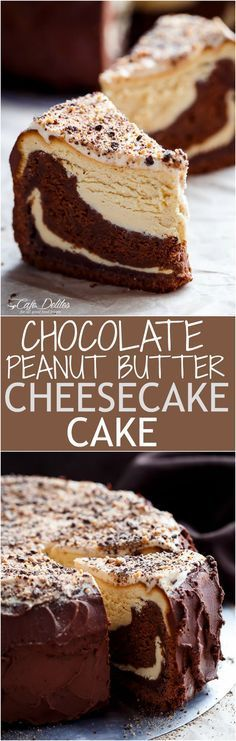 Chocolate Peanut Butter Cheesecake Cake made in the ONE pan! Creamy peanut butter cheesecake bakes on top of a fudgy chocolate cake for the ultimate dessert!   cafedelites.com